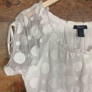 Style & Co L Mesh Overlay Polka Dot Peasant Blouse